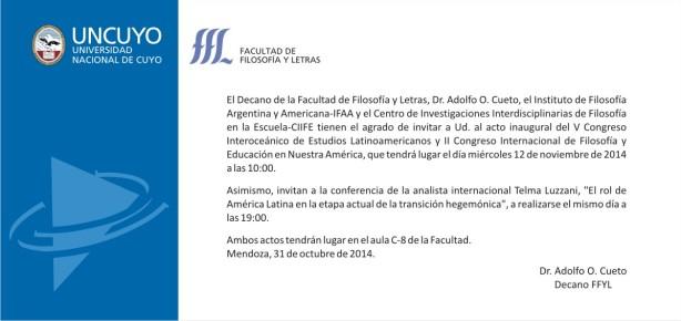 Tarjeta Invitacion V Interoceanico 2014